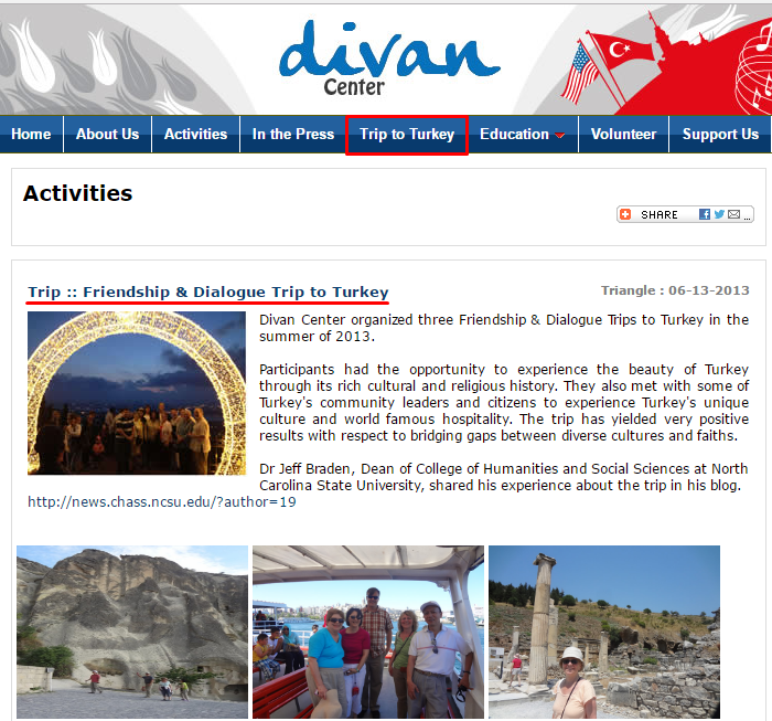 The website of Divan Center has a special section for Turkey Trips