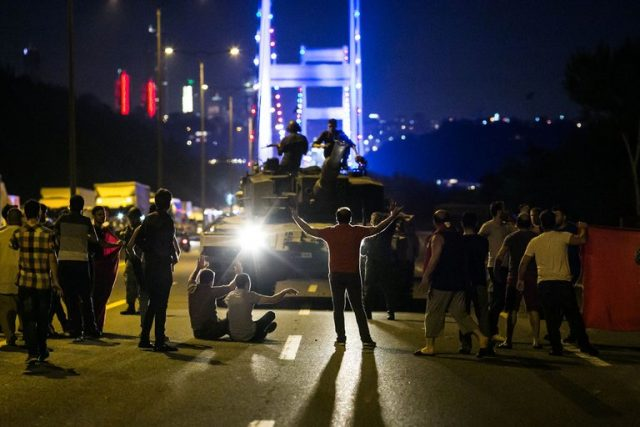 People took to the street on the night of the failed coup attempt.