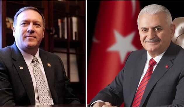 CIA Director Mike Pompeo and Turkish Prime Minister Binali Yildirim
